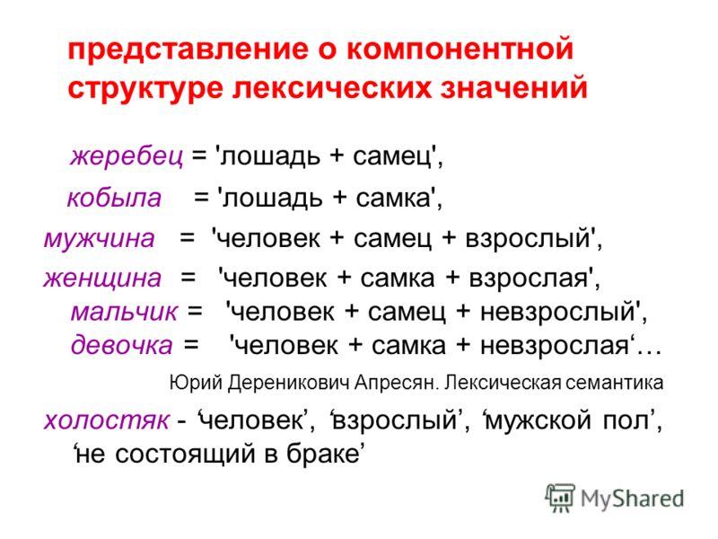 представление о компонентной структуре лексических значений жеребец = 'лошадь + самец', кобыла = 'лошадь + самка', мужчина = 'человек + самец + взрослый', женщина = 'человек + самка + взрослая', мальчик = 'человек + самец + невзрослый', девочка = 'че