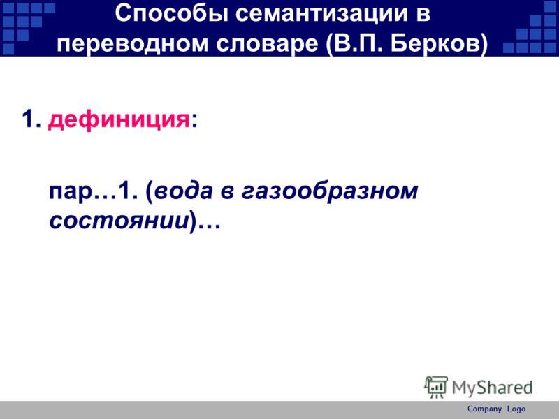 Company Logo Способы семантизации в переводном словаре (В.П. Берков) 1.дефиниция: пар…1. (вода в газообразном состоянии)…