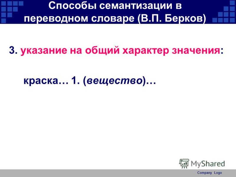 Company Logo Способы семантизации в переводном словаре (В.П. Берков) 3. указание на общий характер значения: краска… 1. (вещество)…