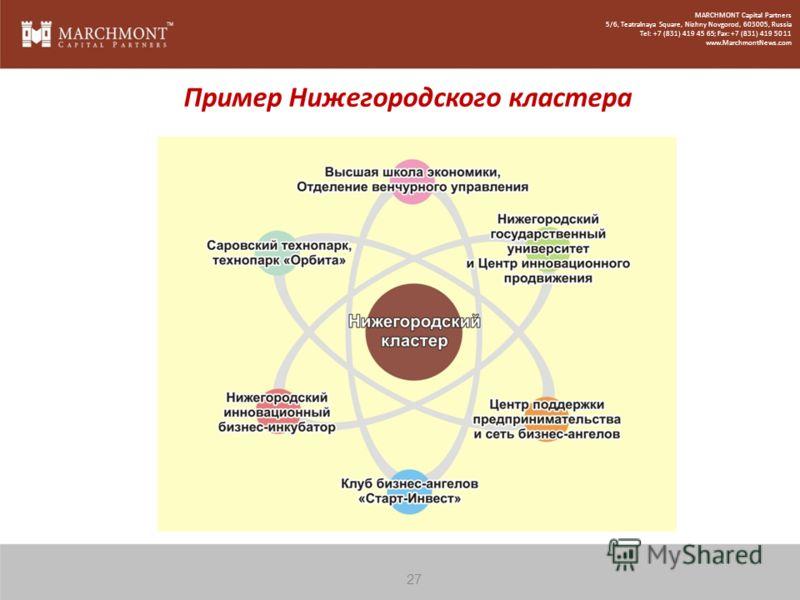 Пример Нижегородского кластера 27 MARCHMONT Capital Partners 5/6, Teatralnaya Square, Nizhny Novgorod, 603005, Russia Tel: +7 (831) 419 45 65; Fax: +7 (831) 419 50 11 www.MarchmontNews.com