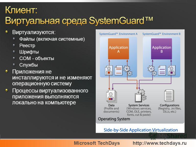 Microsoft TechDayshttp://www.techdays.ru Виртуализуются: Файлы (включая системные) Реестр Шрифты COM - объекты Службы Приложения не инсталлируются и не изменяют операционную систему Процессы виртуализованного приложения выполняются локально на компью