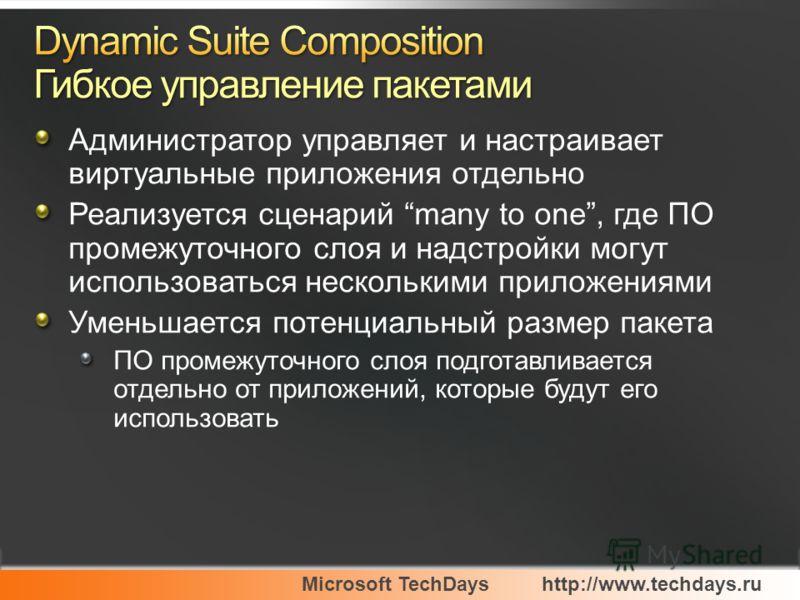Microsoft TechDayshttp://www.techdays.ru Администратор управляет и настраивает виртуальные приложения отдельно Реализуется сценарий many to one, где ПО промежуточного слоя и надстройки могут использоваться несколькими приложениями Уменьшается потенци