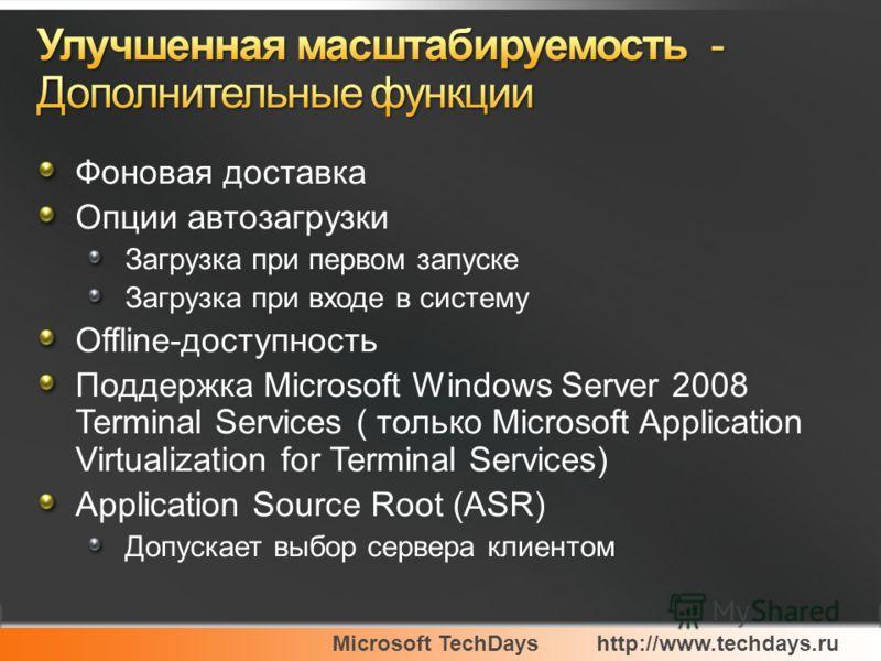 Microsoft TechDayshttp://www.techdays.ru Фоновая доставка Опции автозагрузки Загрузка при первом запуске Загрузка при входе в систему Offline-доступность Поддержка Microsoft Windows Server 2008 Terminal Services ( только Microsoft Application Virtual