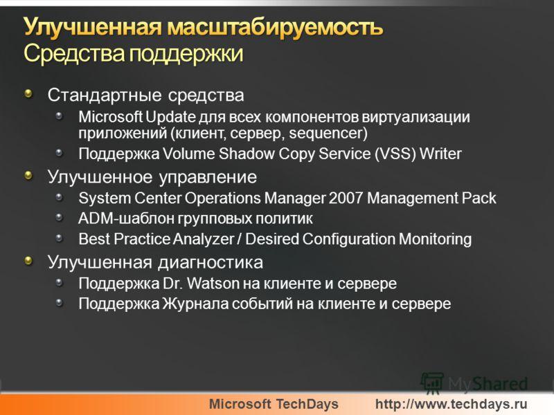 Microsoft TechDayshttp://www.techdays.ru Стандартные средства Microsoft Update для всех компонентов виртуализации приложений (клиент, сервер, sequencer) Поддержка Volume Shadow Copy Service (VSS) Writer Улучшенное управление System Center Operations