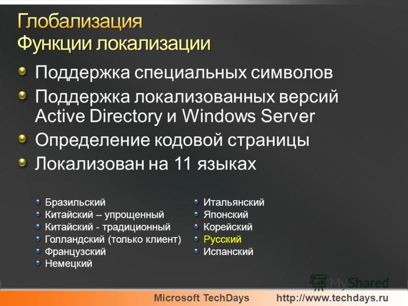 Microsoft TechDayshttp://www.techdays.ru Бразильский Китайский – упрощенный Китайский - традиционный Голландский (только клиент) Французский Немецкий Итальянский Японский Корейский Русский Испанский Поддержка специальных символов Поддержка локализова