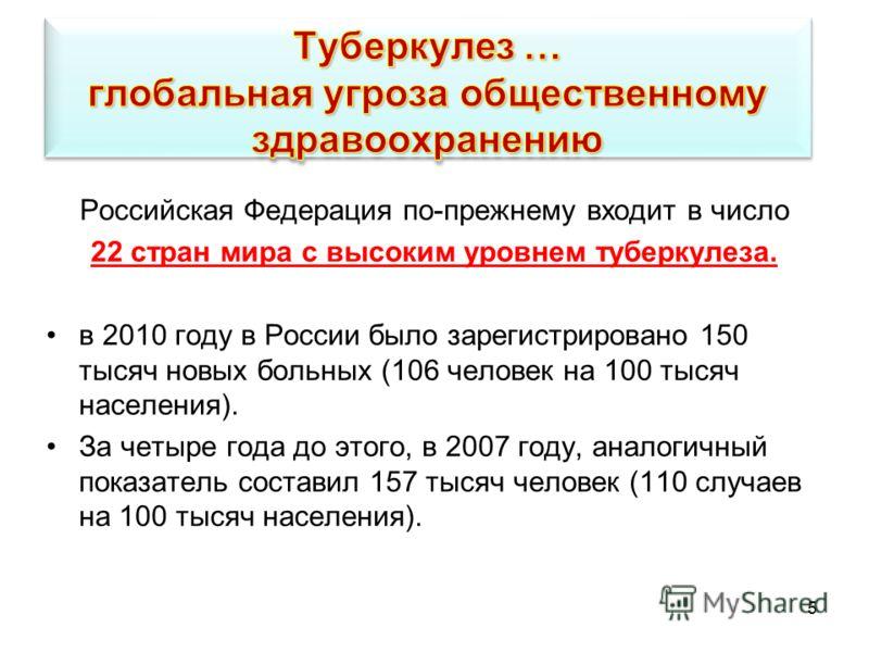 5 Российская Федерация по-прежнему входит в число 22 стран мира с высоким уровнем туберкулеза. в 2010 году в России было зарегистрировано 150 тысяч новых больных (106 человек на 100 тысяч населения). За четыре года до этого, в 2007 году, аналогичный