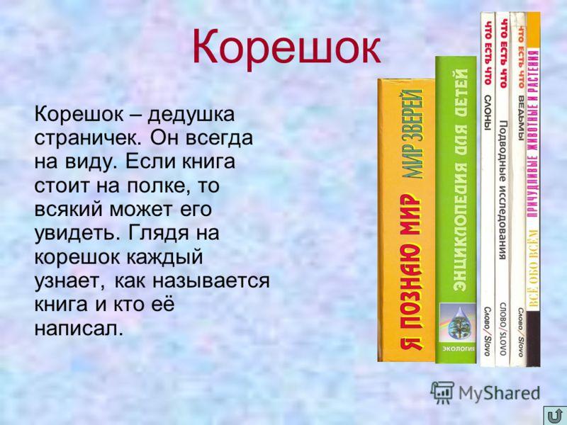 Корешок Корешок – дедушка страничек. Он всегда на виду. Если книга стоит на полке, то всякий может его увидеть. Глядя на корешок каждый узнает, как называется книга и кто её написал.
