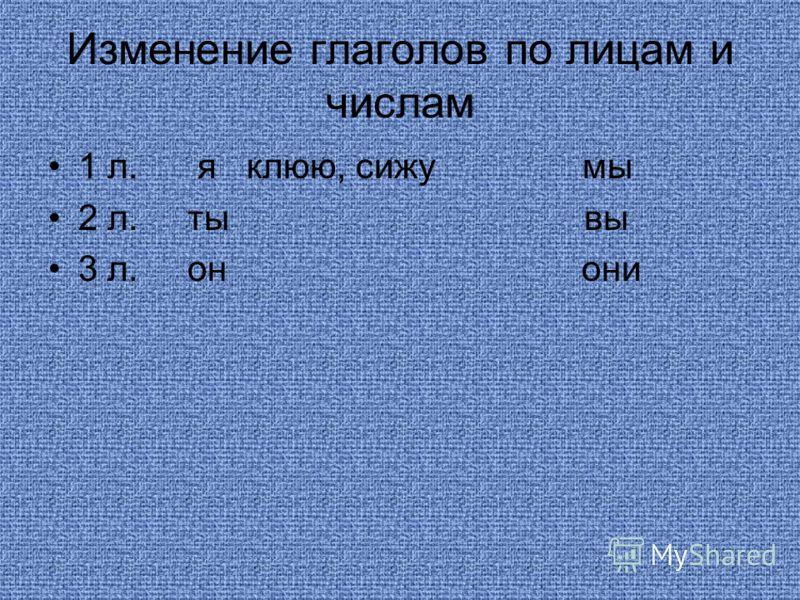 Изменение глаголов по лицам и числам 1 л. я клюю, сижу мы 2 л. ты вы 3 л. он они