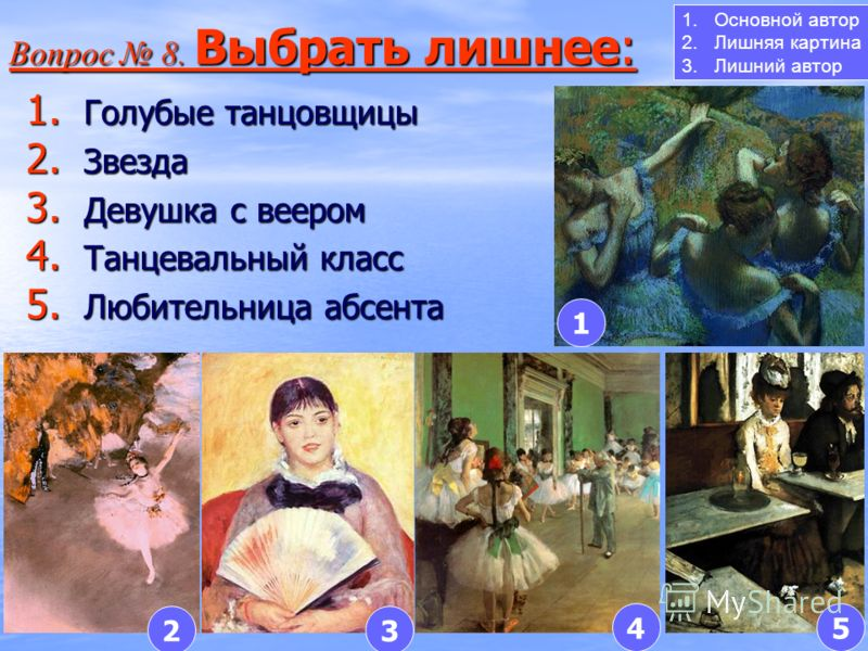 1. Голубые танцовщицы 2. Звезда 3. Девушка с веером 4. Танцевальный класс 5. Любительница абсента Вопрос 8. Выбрать лишнее: Вопрос 8. Выбрать лишнее: 1 23 45 1.Основной автор 2.Лишняя картина 3.Лишний автор