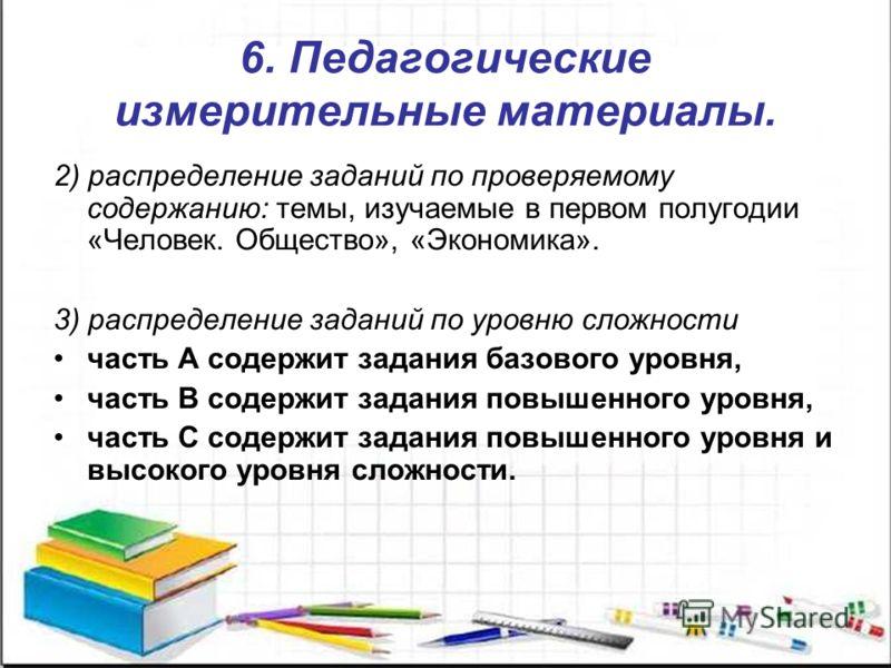 6. Педагогические измерительные материалы. 2) распределение заданий по проверяемому содержанию: темы, изучаемые в первом полугодии «Человек. Общество», «Экономика». 3) распределение заданий по уровню сложности часть А содержит задания базового уровня