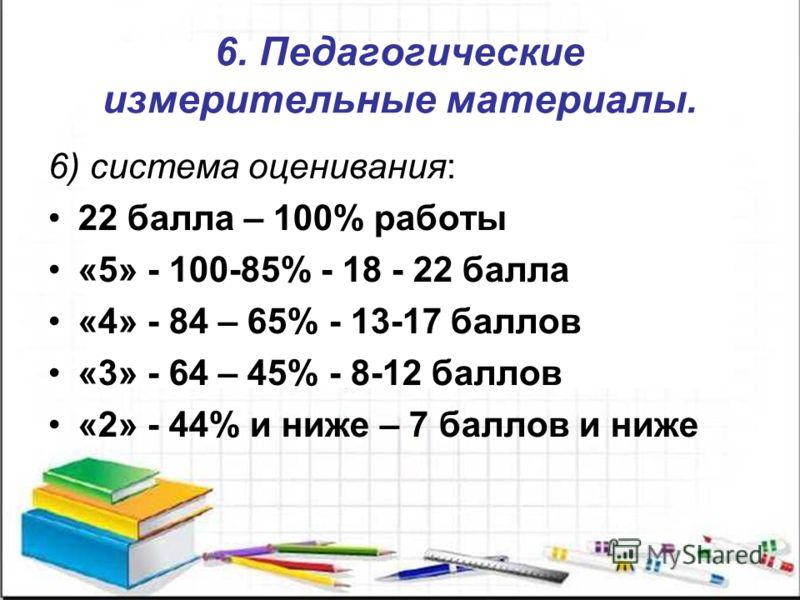 6. Педагогические измерительные материалы. 6) система оценивания: 22 балла – 100% работы «5» - 100-85% - 18 - 22 балла «4» - 84 – 65% - 13-17 баллов «3» - 64 – 45% - 8-12 баллов «2» - 44% и ниже – 7 баллов и ниже