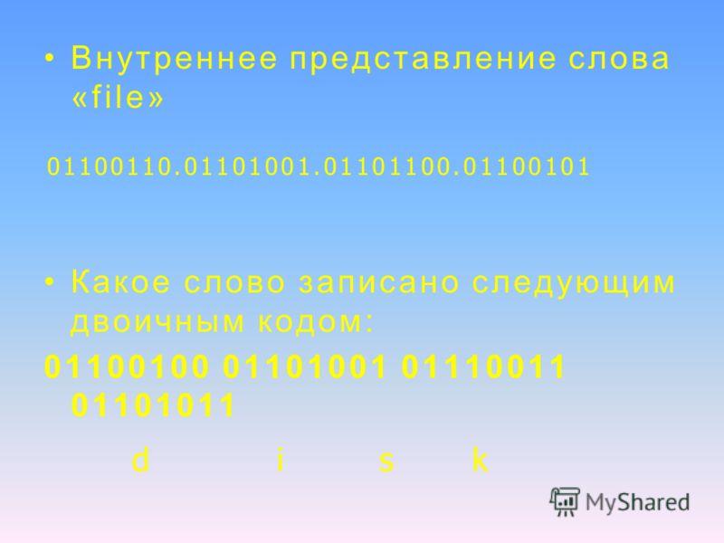 Внутреннее представление слова «file» Какое слово записано следующим двоичным кодом: 01100100 01101001 01110011 01101011 01100110.01101001.01101100.01100101 di s k