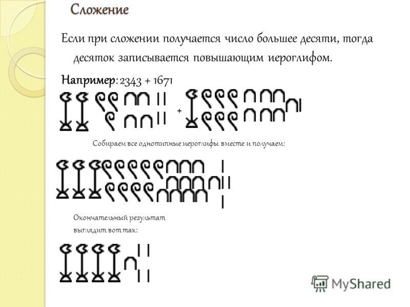 Сложение Если при сложении получается число большее десяти, тогда десяток записывается повышающим иероглифом. Например: 2343 + 1671 + Собираем все однотипные иероглифы вместе и получаем: Окончательный результат выглядит вот так: