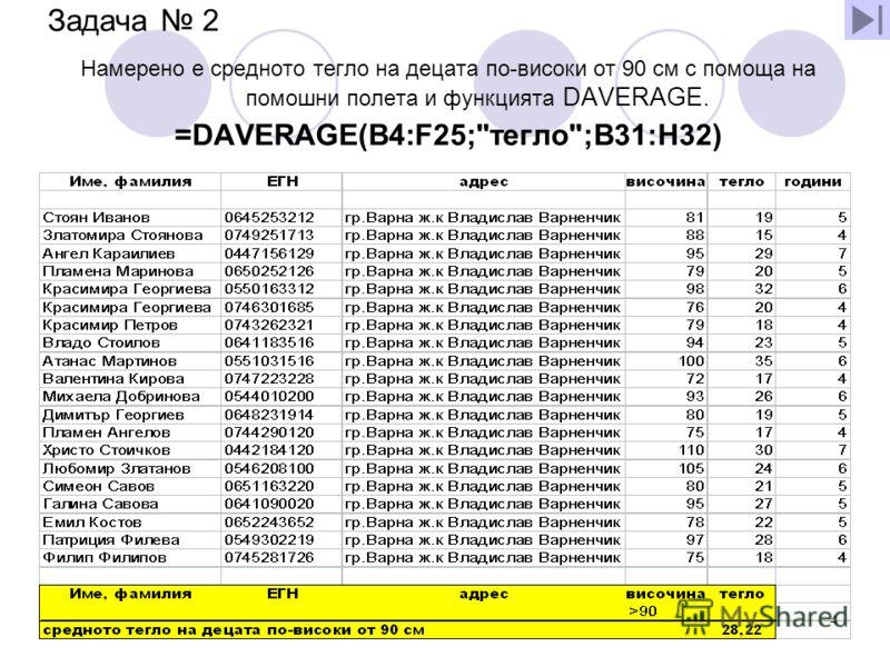 03.7.2012 г.4 Задача 2 Намерено е средното тегло на децата по-високи от 90 см с помоща на помошни полета и функцията DAVERAGE. =DAVERAGE(B4:F25;тегло;B31:H32)