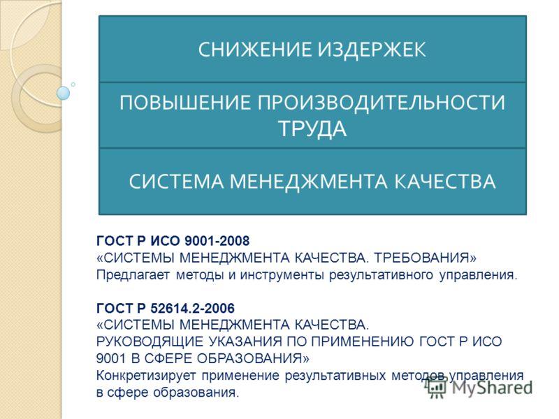 СНИЖЕНИЕ ИЗДЕРЖЕК ПОВЫШЕНИЕ ПРОИЗВОДИТЕЛЬНОСТИ ТРУДА СИСТЕМА МЕНЕДЖМЕНТА КАЧЕСТВА ГОСТ Р ИСО 9001-2008 «СИСТЕМЫ МЕНЕДЖМЕНТА КАЧЕСТВА. ТРЕБОВАНИЯ» Предлагает методы и инструменты результативного управления. ГОСТ Р 52614.2-2006 «СИСТЕМЫ МЕНЕДЖМЕНТА КАЧ