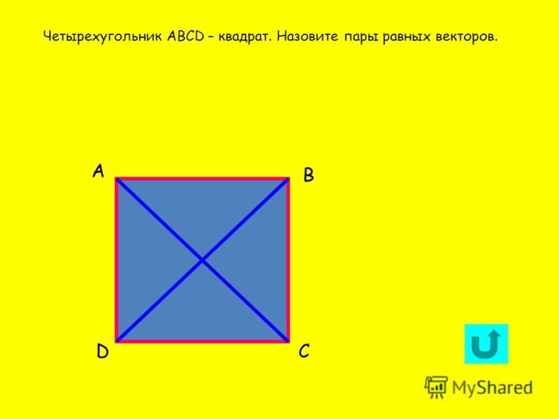 А DС В Четырехугольник АВСD – квадрат. Назовите пары равных векторов.