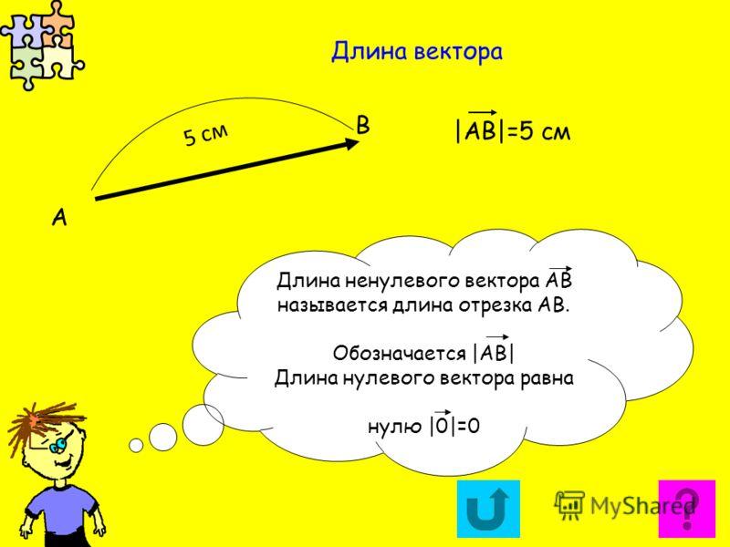 Длина вектора А В Длина ненулевого вектора АВ называется длина отрезка АВ. Обозначается |АВ| Длина нулевого вектора равна нулю |0|=0 5 см |АВ|=5 см