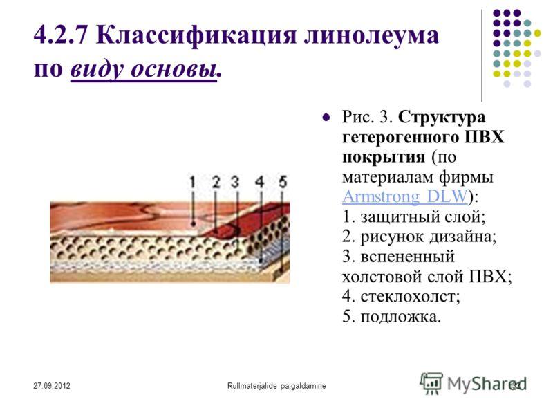 27.09.2012Rullmaterjalide paigaldamine32 4.2.7 Классификация линолеума по виду основы. Рис. 3. Структура гетерогенного ПВХ покрытия (по материалам фирмы Armstrong DLW): 1. защитный слой; 2. рисунок дизайна; 3. вспененный холстовой слой ПВХ; 4. стекло