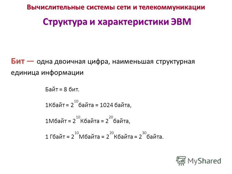 Вычислительные системы сети и телекоммуникации Структура и характеристики ЭВМ Бит Бит одна двоичная цифра, наименьшая структурная единица информации Байт = 8 бит. 1Кбайт = 2 10 байта = 1024 байта, 1Мбайт = 2 10 Кбайта = 2 20 байта, 1 Гбайт = 2 10 Мба