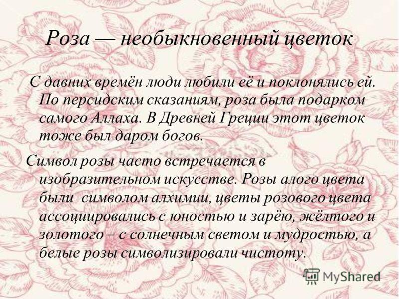 Роза необыкновенный цветок С давних времён люди любили её и поклонялись ей. По персидским сказаниям, роза была подарком самого Аллаха. В Древней Греции этот цветок тоже был даром богов. Символ розы часто встречается в изобразительном искусстве. Розы