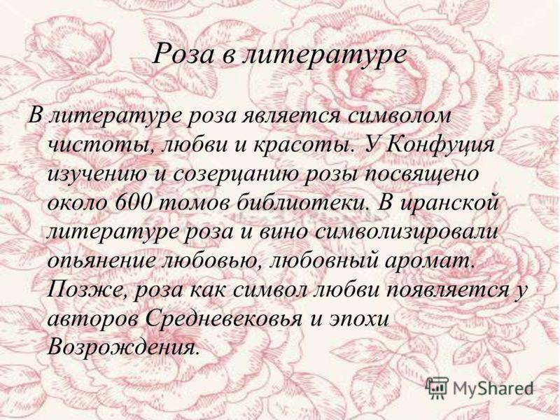 В литературе роза является символом чистоты, любви и красоты. У Конфуция изучению и созерцанию розы посвящено около 600 томов библиотеки. В иранской литературе роза и вино символизировали опьянение любовью, любовный аромат. Позже, роза как символ люб