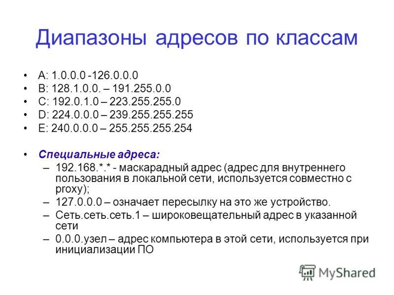 Диапазоны адресов по классам A: 1.0.0.0 -126.0.0.0 B: 128.1.0.0. – 191.255.0.0 C: 192.0.1.0 – 223.255.255.0 D: 224.0.0.0 – 239.255.255.255 E: 240.0.0.0 – 255.255.255.254 Специальные адреса: –192.168.*.* - маскарадный адрес (адрес для внутреннего поль