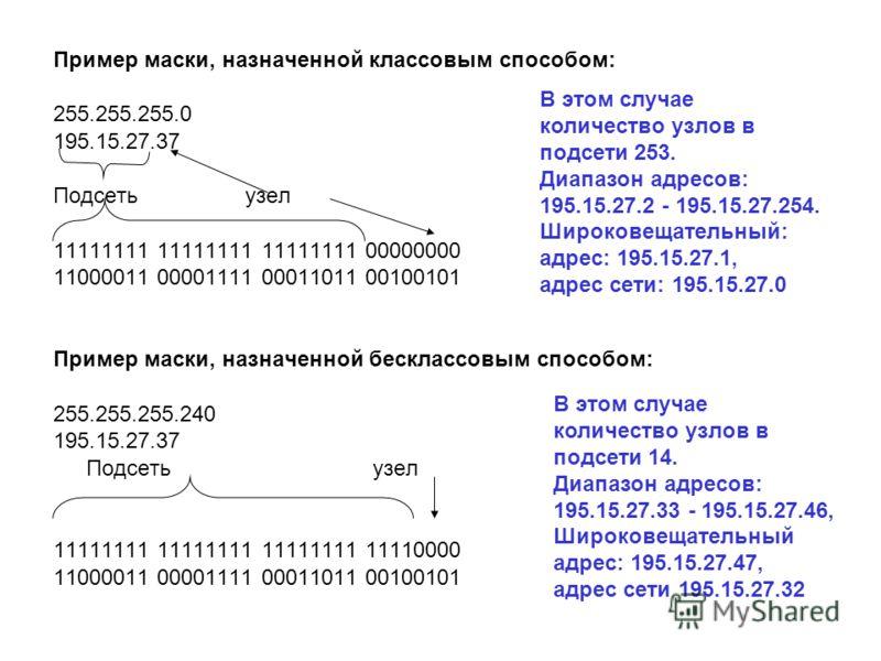 Пример маски, назначенной классовым способом: 255.255.255.0 195.15.27.37 Подсеть узел 11111111 11111111 11111111 00000000 11000011 00001111 00011011 00100101 Пример маски, назначенной бесклассовым способом: 255.255.255.240 195.15.27.37 Подсеть узел 1