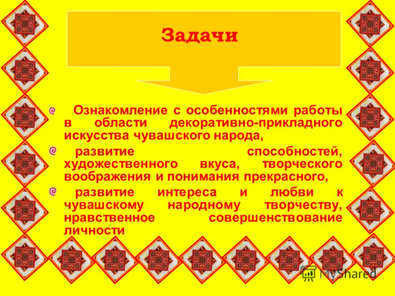 Ознакомление с особенностями работы в области декоративно-прикладного искусства чувашского народа, развитие способностей, художественного вкуса, творческого воображения и понимания прекрасного, развитие интереса и любви к чувашскому народному творчес