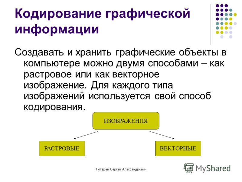 Тютерев Сергей Александрович Кодирование графической информации Создавать и хранить графические объекты в компьютере можно двумя способами – как растровое или как векторное изображение. Для каждого типа изображений используется свой способ кодировани