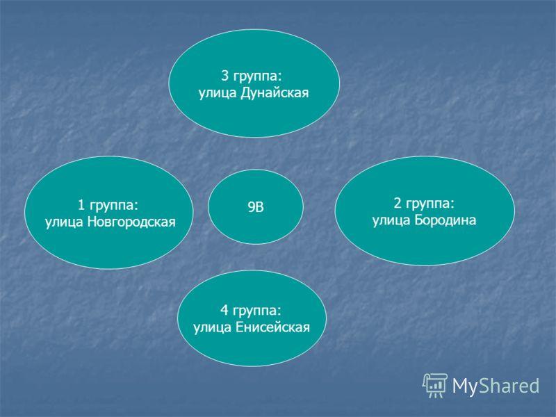 9В 1 группа: улица Новгородская 2 группа: улица Бородина 3 группа: улица Дунайская 4 группа: улица Енисейская