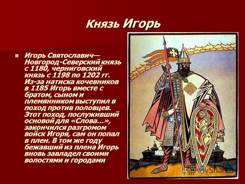 Игорь Князь Игорь Игорь Святославич Новгород-Северский князь с 1180, черниговский князь с 1198 по 1202 гг. Из-за натиска кочевников в 1185 Игорь вместе с братом, сыном и племянником выступил в поход против половцев. Этот поход, послуживший основой дл