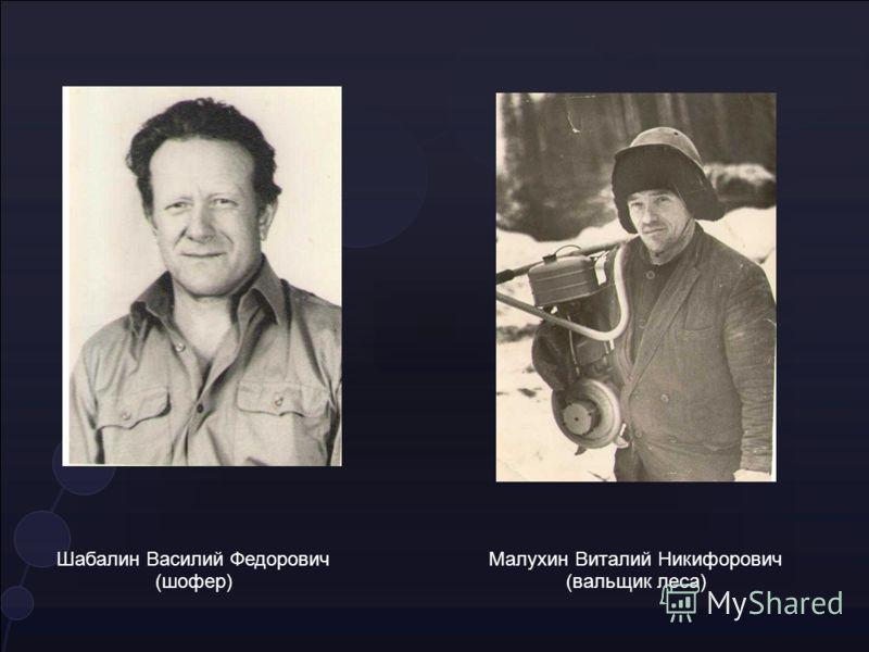 Шабалин Василий Федорович (шофер) Малухин Виталий Никифорович (вальщик леса)