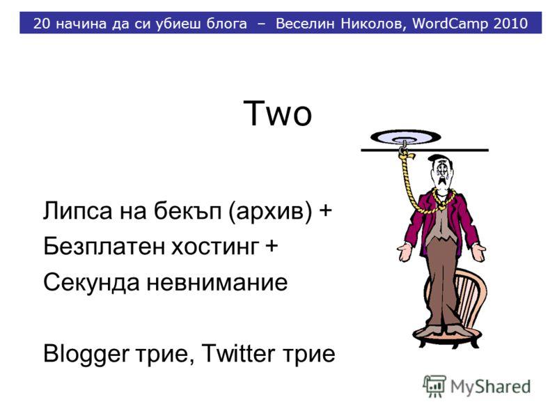 Two Липса на бекъп (архив) + Безплатен хостинг + Секунда невнимание Blogger трие, Twitter трие 20 начина да си убиеш блога – Веселин Николов, WordCamp 2010