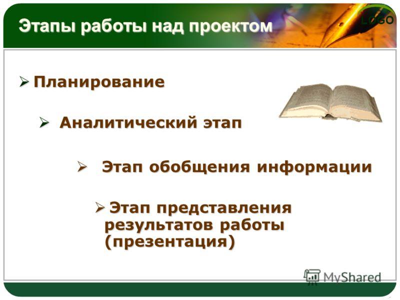 LOGO Этапы работы над проектом Планирование Планирование Аналитический этап Аналитический этап Этап обобщения информации Этап обобщения информации Этап представления результатов работы (презентация) Этап представления результатов работы (презентация)