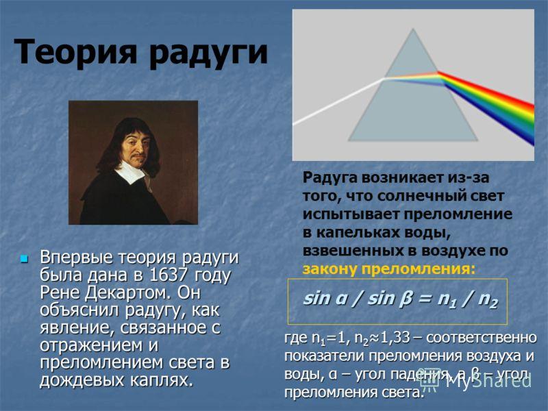 Теория радуги Впервые теория радуги была дана в 1637 году Рене Декартом. Он объяснил радугу, как явление, связанное с отражением и преломлением света в дождевых каплях. Впервые теория радуги была дана в 1637 году Рене Декартом. Он объяснил радугу, ка
