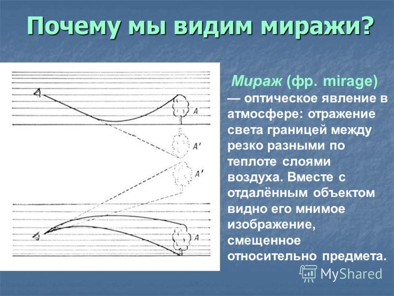 Почему мы видим миражи? Мираж (фр. mirage) оптическое явление в атмосфере: отражение света границей между резко разными по теплоте слоями воздуха. Вместе с отдалённым объектом видно его мнимое изображение, смещенное относительно предмета.