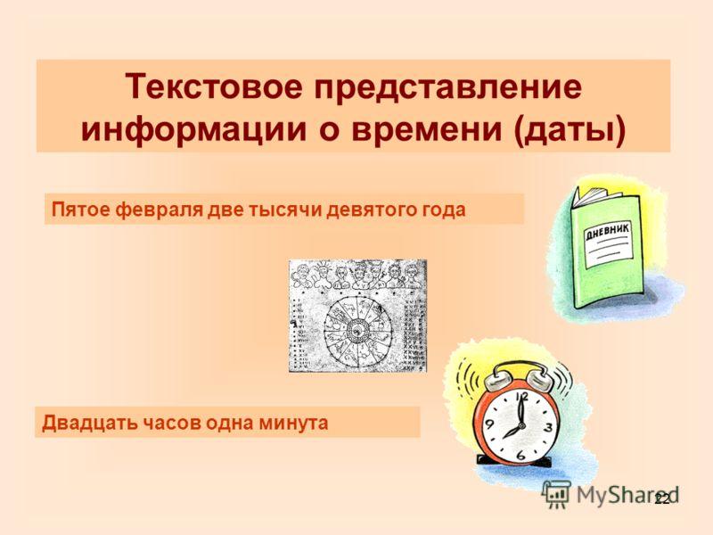 22 Текстовое представление информации о времени (даты) Пятое февраля две тысячи девятого года Двадцать часов одна минута
