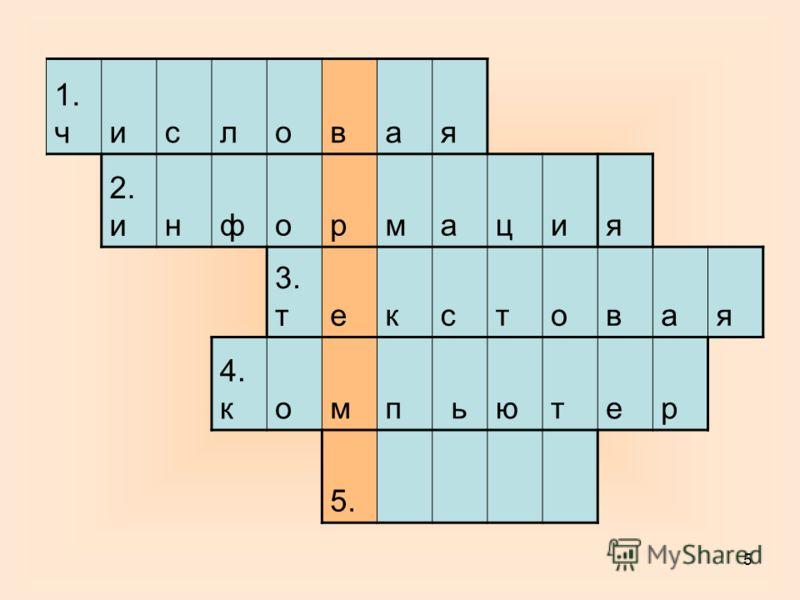 5 1. числовая 2. информация 3. текстовая 4. компьютер 5.