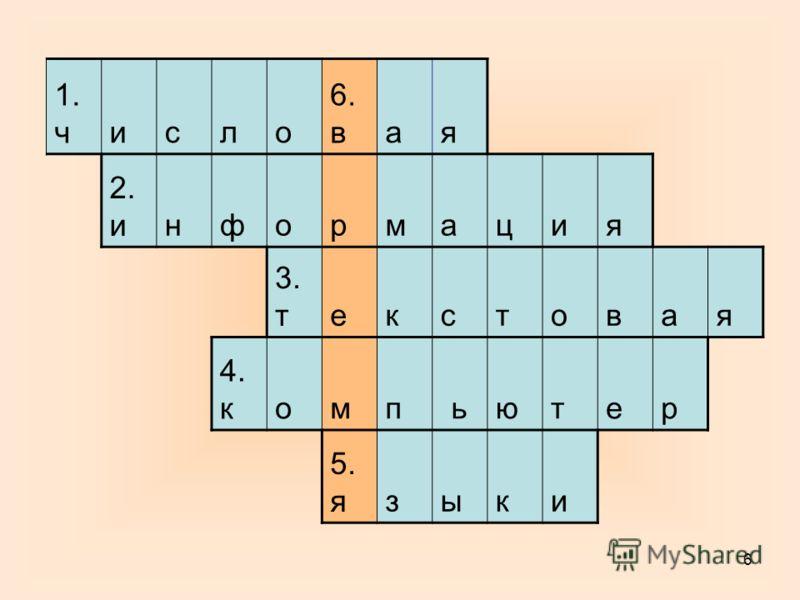 6 1. число 6. вая 2. информация 3. текстовая 4. компьютер 5. языки