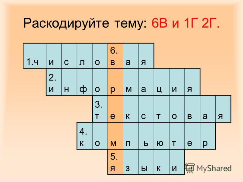 7 Раскодируйте тему: 6В и 1Г 2Г. 1.число 6. в ая 2. информация 3. текстовая 4. компьютер 5. языки