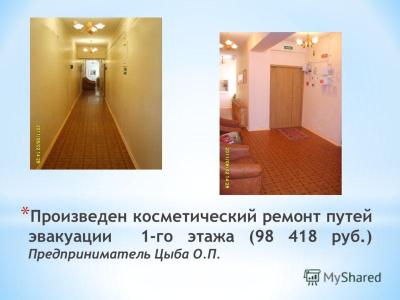* Произведен косметический ремонт путей эвакуации 1-го этажа (98 418 руб.) Предприниматель Цыба О.П.