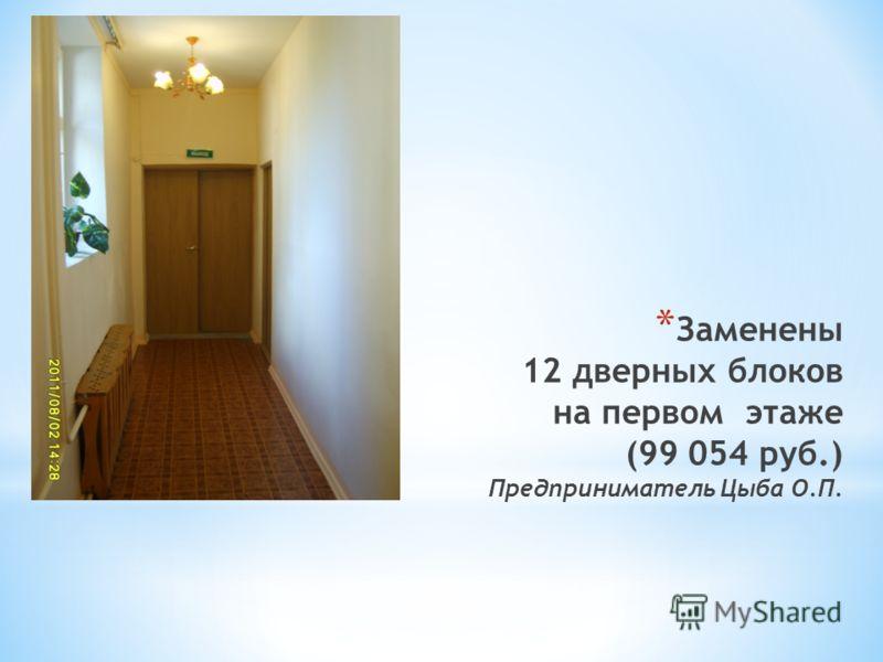 * Заменены 12 дверных блоков на первом этаже (99 054 руб.) Предприниматель Цыба О.П.
