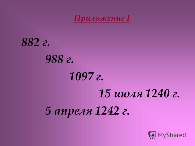 Приложение 1 882 г. 988 г. 1097 г. 15 июля 1240 г. 5 апреля 1242 г.