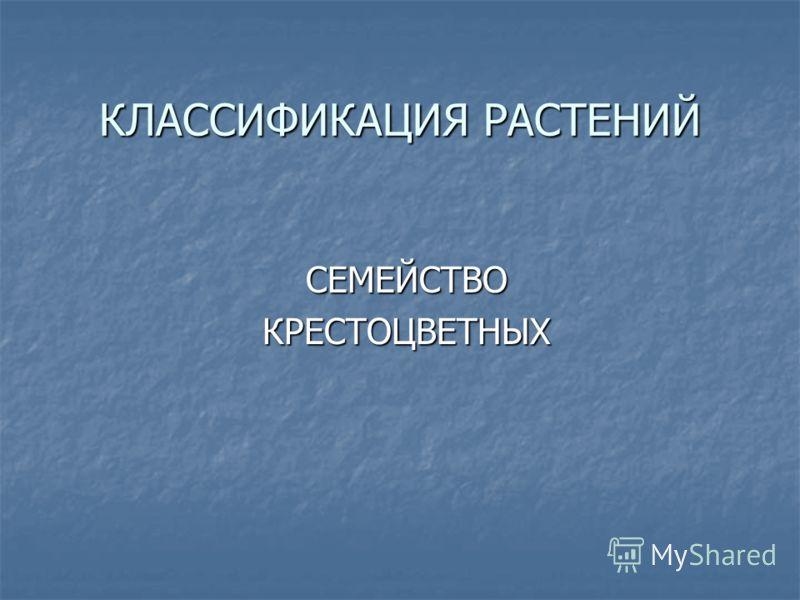 КЛАССИФИКАЦИЯ РАСТЕНИЙ СЕМЕЙСТВОКРЕСТОЦВЕТНЫХ