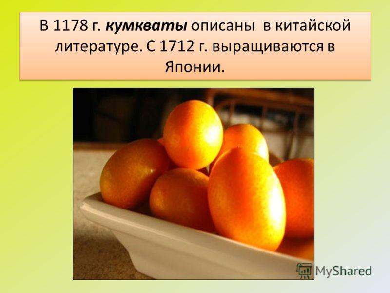 В 1178 г. кумкваты описаны в китайской литературе. С 1712 г. выращиваются в Японии.