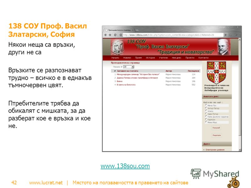 www.lucrat.net | Мястото на ползваемостта в правенето на сайтове 138 СОУ Проф. Васил Златарски, София Някои неща са връзки, други не са Връзките се разпознават трудно – всичко е в еднакъв тъмночервен цвят. Птребителите трябва да обикалят с мишката, з