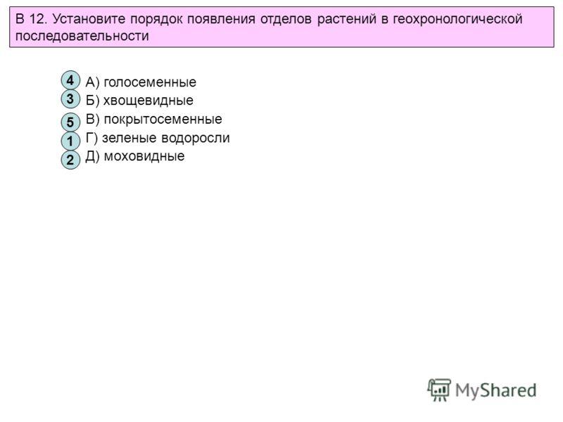 В 12. Установите порядок появления отделов растений в геохронологической последовательности 1 2 3 4 5 А) голосеменные Б) хвощевидные В) покрытосеменные Г) зеленые водоросли Д) моховидные