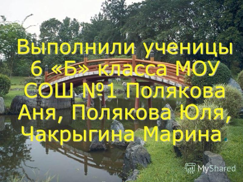 Выполнили ученицы 6 «Б» класса МОУ СОШ 1 Полякова Аня, Полякова Юля, Чакрыгина Марина.