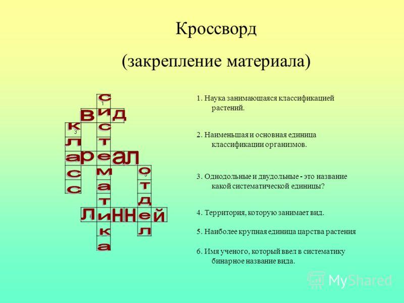 1 2 3 4 5 6 1. Наука занимающаяся классификацией растений. 2. Наименьшая и основная единица классификации организмов. 3. Однодольные и двудольные - это название какой систематической единицы? 4. Территория, которую занимает вид. 5. Наиболее крупная е