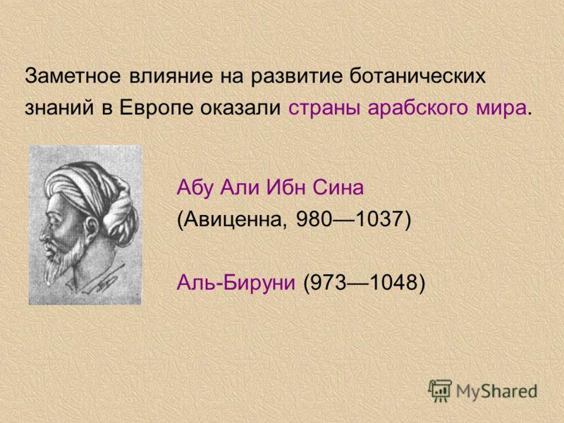 Заметное влияние на развитие ботанических знаний в Европе оказали страны арабского мира. Абу Али Ибн Сина (Авиценна, 9801037) Аль-Бируни (9731048)